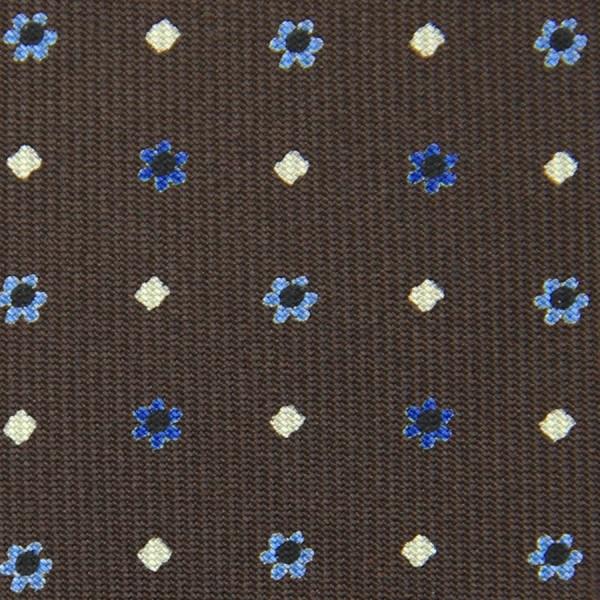 Floral Printed Bespoke Silk Tie - Brown