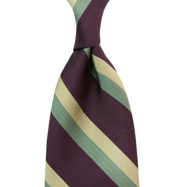 Repp Stripe Silk Tie - Eggplant / Pistachio / Ivory - Handrolled