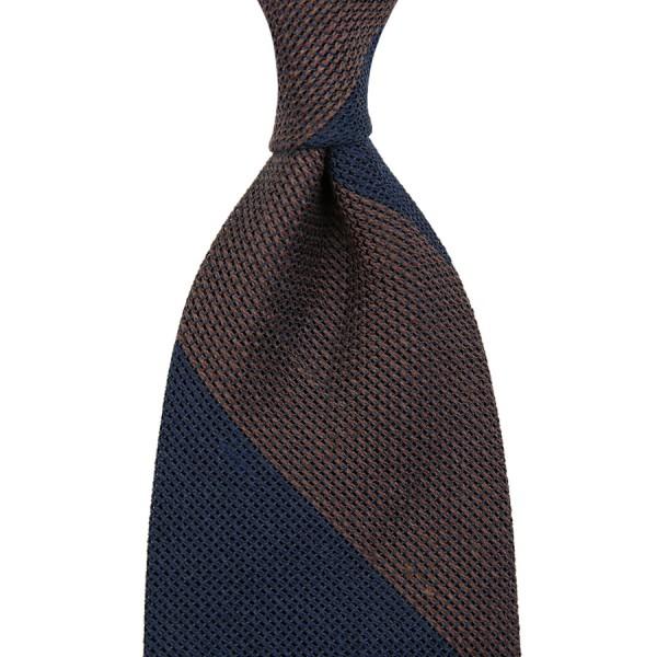 Block Stripe Grenadine / Garza Piccola Linen / Silk Tie - Navy / Brown