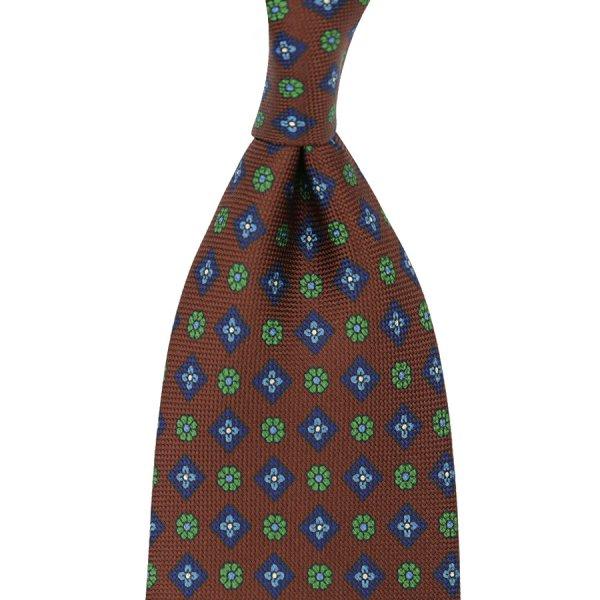 Floral Printed Panama Silk Tie - Brown - Handrolled - 140cm