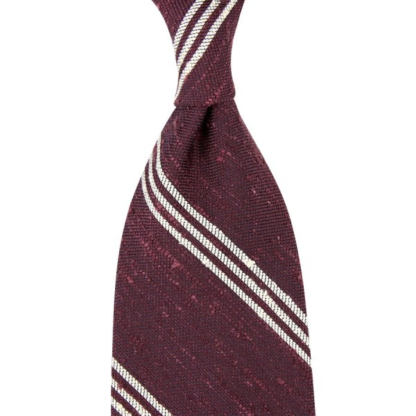Triple Bar Soft Shantung Silk Tie - Burgundy - Hand-Rolled