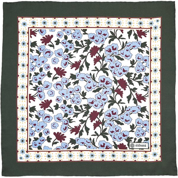 Floral Printed Silk Pocket Square - White - 40 x 40cm