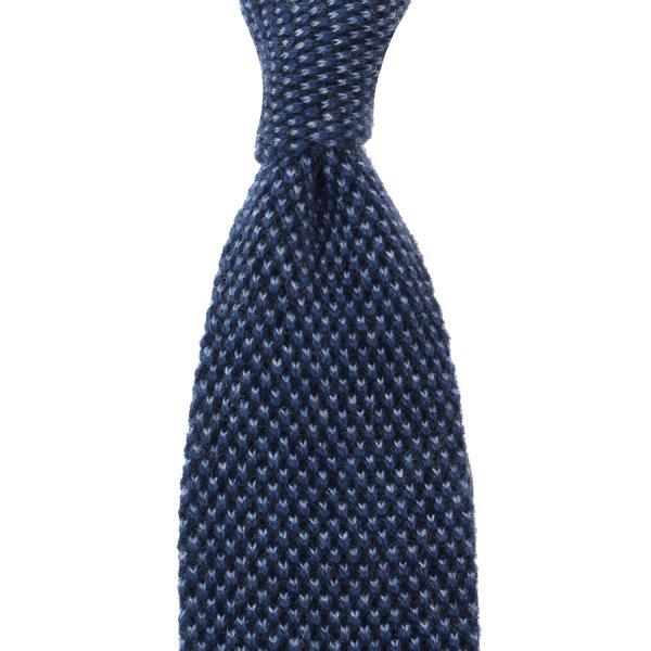 Knit Tie - Blue Birdseye - Wool / Cashmere