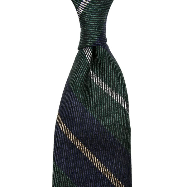 Striped Wool / Silk Tie - Navy / Green - Hand-Rolled