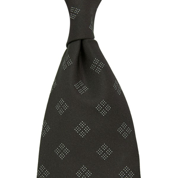 Geometrical Jacquard Tie - Charcoal Green - Handrolled