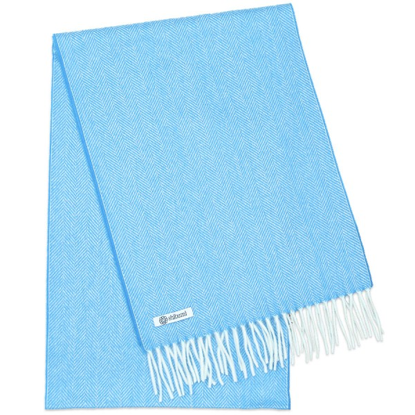 Cashmere Herringbone Scarf - Sky Blue