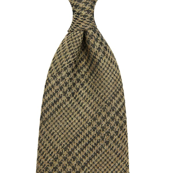 Glencheck Silk / Cotton Tie - Beige - Handrolled