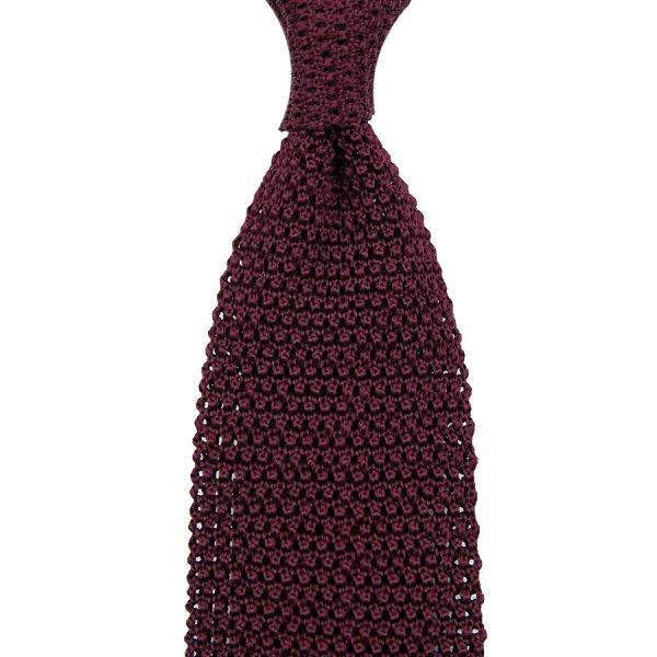 V-Point Knit Tie - Eggplant - Silk