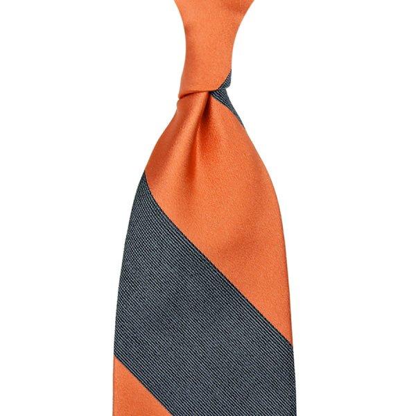 Striped Boucle / Satin Silk Tie - Orange / Grey