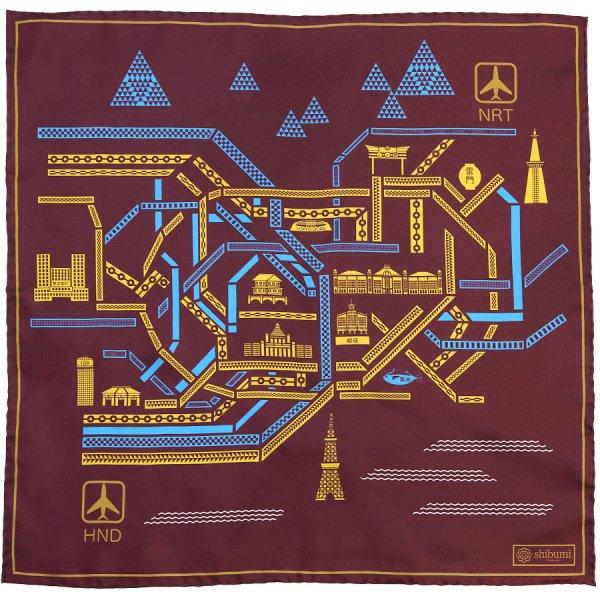 Tokyo Map Silk Pocket Square - Burgundy - 40x40cm