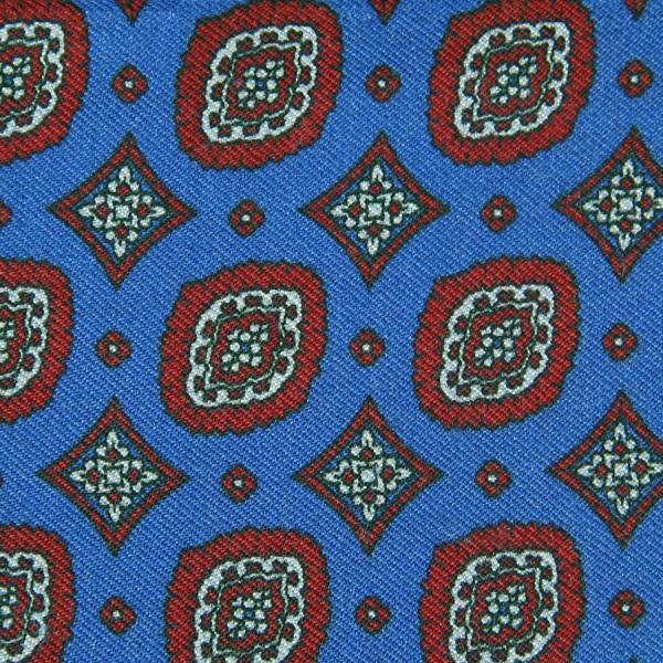 Vintage Printed Silk Bespoke Tie - Blue II