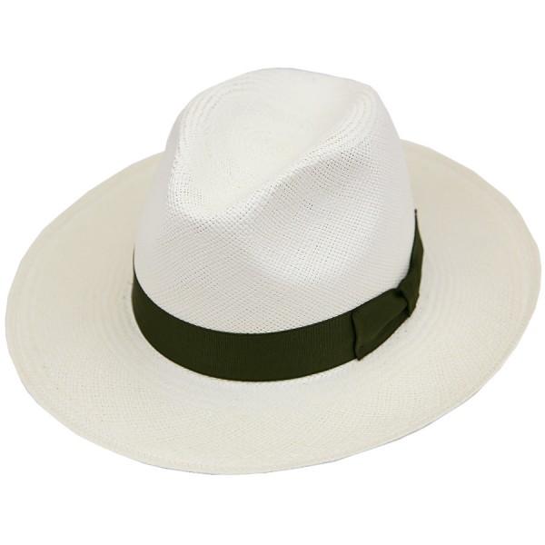 Panama Hat - Ivory - Olive Ribbon
