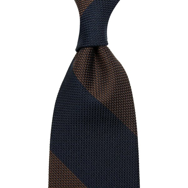Block Stripe Grenadine / Garza Piccola Silk Tie - Navy / Brown