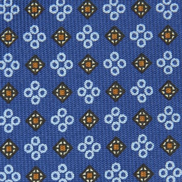 Floral Printed Bespoke Silk Tie - Blue