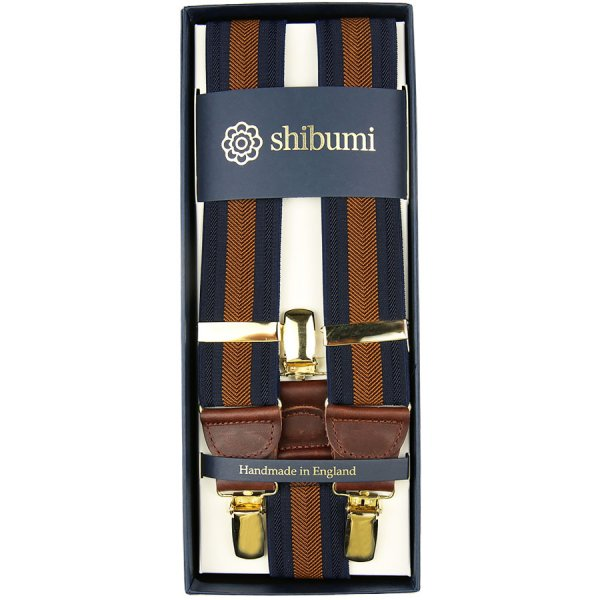Elastic Braces With Clips - Navy / Copper