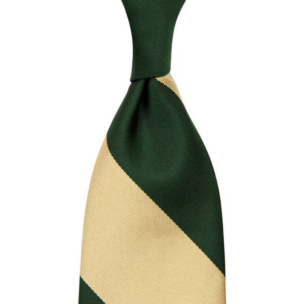 Block Stripe Repp Silk Tie - Forest / Cream - Hand-Rolled
