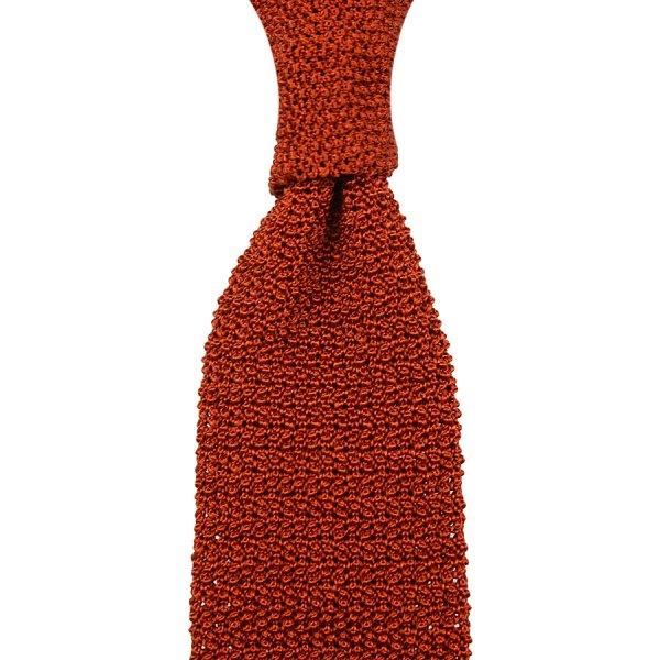 Crunchy Silk Knit Tie - Rust
