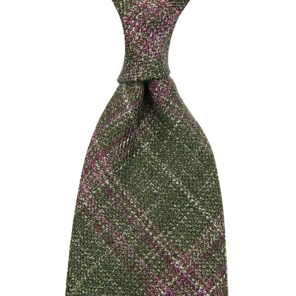 Loro Piana Checked Wool / Linen / Silk Tie - Green / Red - Handrolled