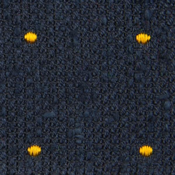 Dotted Shantung Grenadine Bespoke Tie - Navy / Yellow