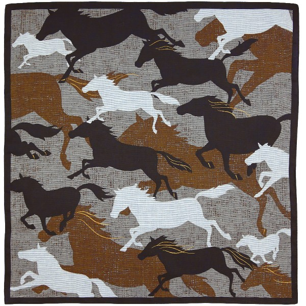 Horse Motif Cotton Handkerchief - Brown