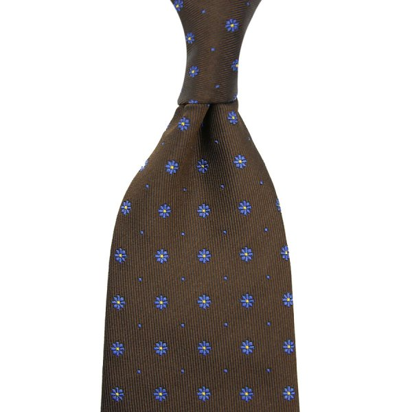Floral Jacquard Silk Tie - Brown - Hand-Rolled
