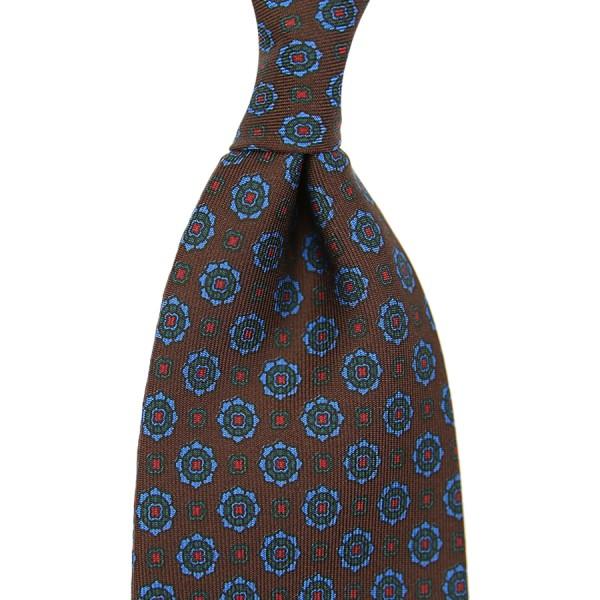 Ancient Madder Silk Tie - Brown - Handrolled