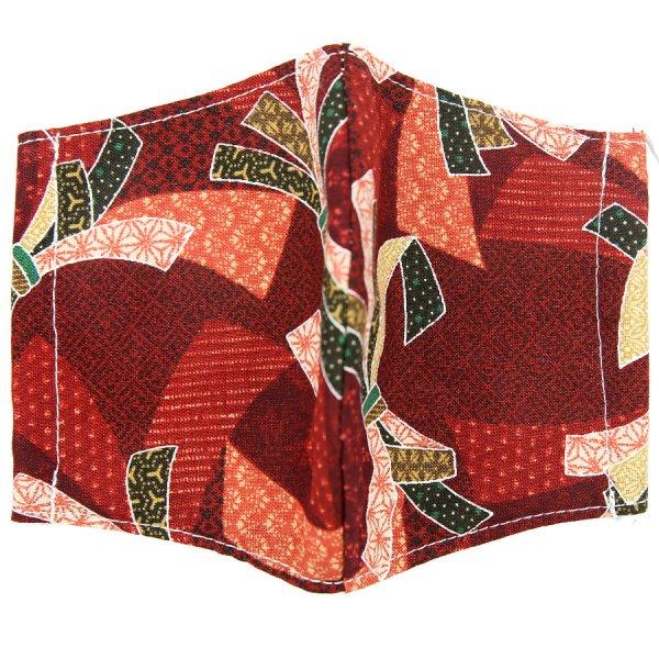 Kimono Motif Washable Cotton Mask - Burgundy II