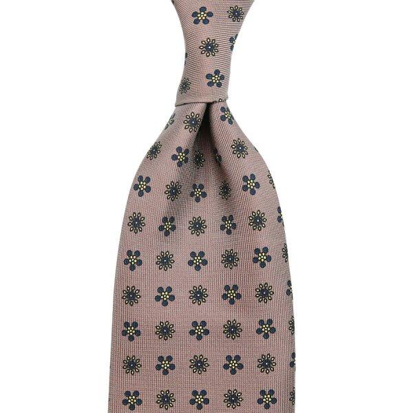 Floral Printed Silk Tie - Hopsack - Hand-Rolled