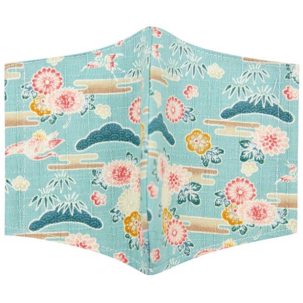 Kimono Motif Washable Cotton Mask - Cyan