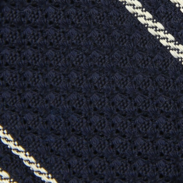 Striped Garza Grossa / Grenadine Bespoke Tie - Midnight / White