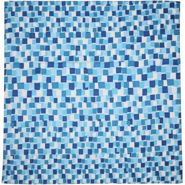 Geometrical Motif Cotton Handkerchief - Blue