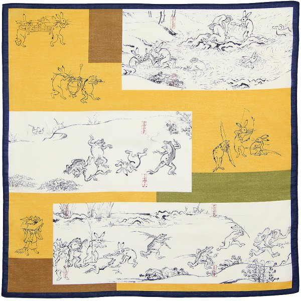 Ukiyo-e Cotton Handkerchief - Yellow