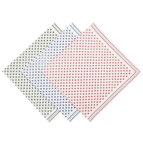 Geometrical Motif Cotton Handkerchief - White III