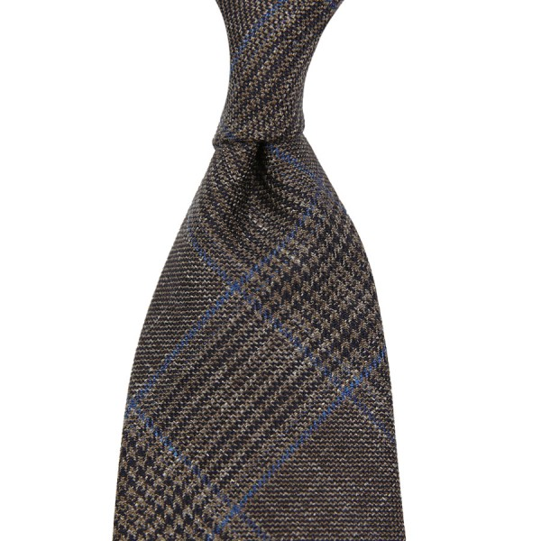 Loro Piana Checked Wool / Silk / Linen Tie - Brown - Handrolled