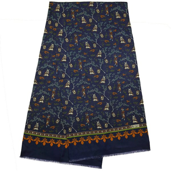 Samurai Printed Wool / Silk Scarf - Navy