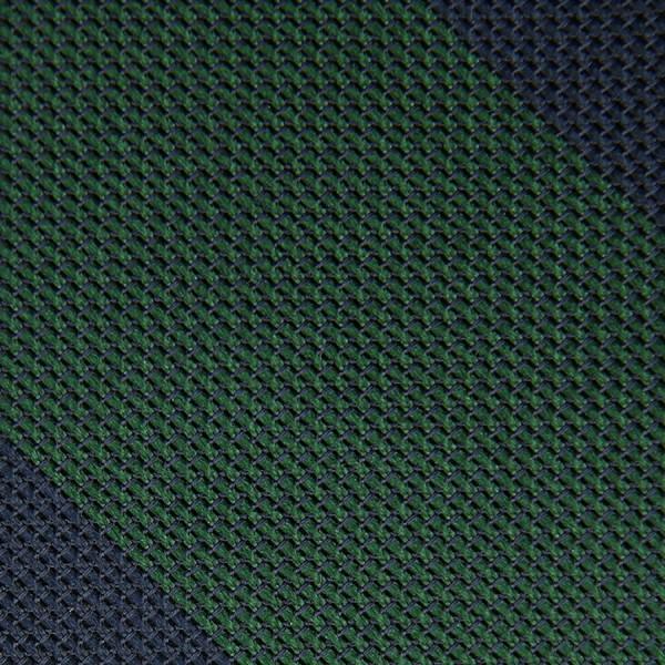 Block Stripe Grenadine / Garza Fina Bespoke Tie - Navy / Forest Green