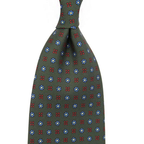 Floral Printed Silk Tie - Dark Olive - Handrolled