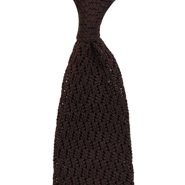 Zig Zag Silk Knit Tie - Brown