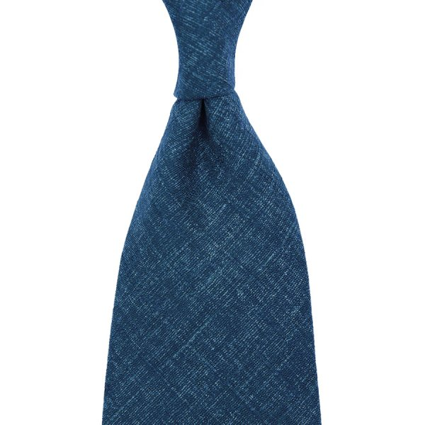 Japanese Mottled Cotton Tie - Denim Blue - Handrolled