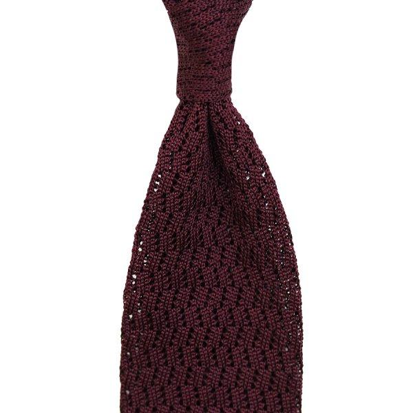Zig Zag Silk Knit Tie - Eggplant