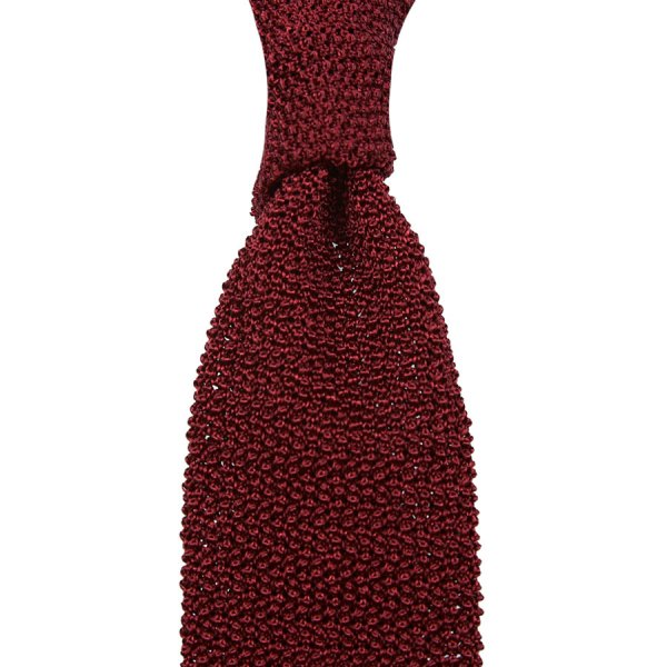 Crunchy Silk Knit Tie - Cherry