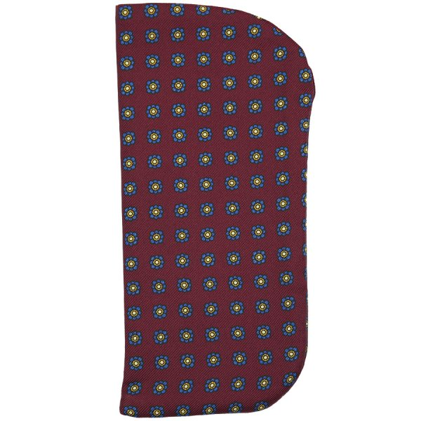 Shibumi-Flower Printed Silk Glasses Case - Burgundy