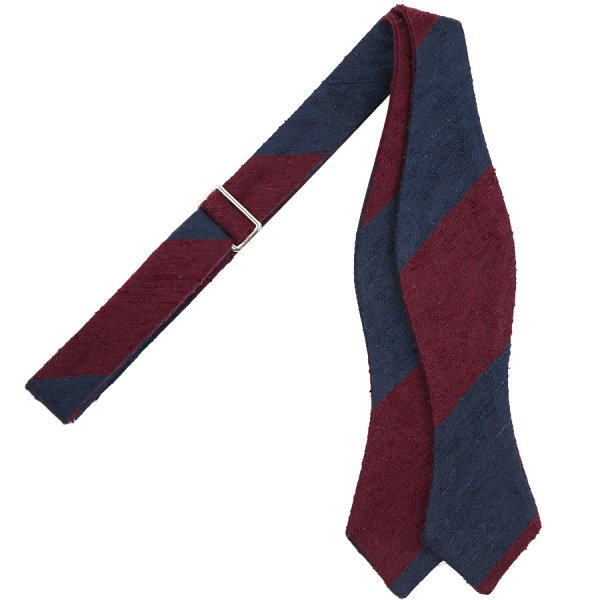 Block Stripe Shantung Silk Bow Tie - Navy / Burgundy