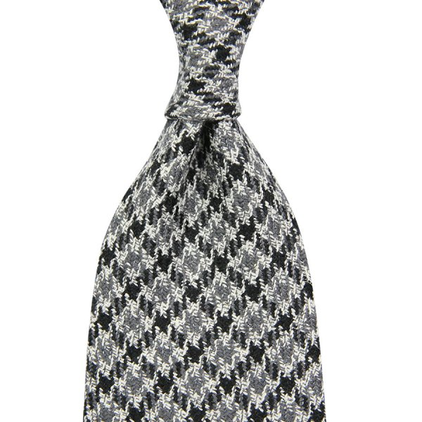 Marling & Evans Houndstooth Wool / Silk Tie - Grey - Hand-Rolled