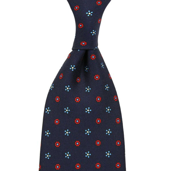 Floral Printed Silk Tie - Navy I - Self-Tipped