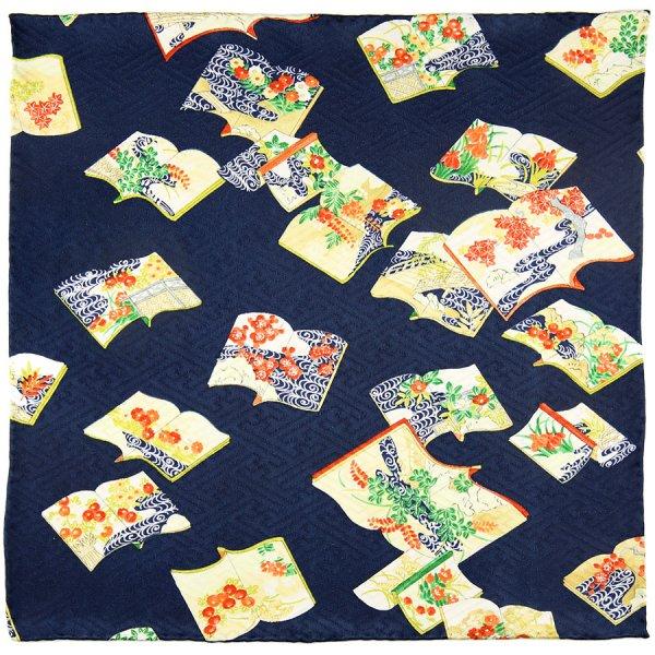 Vintage Kimono Silk Pocket Square - Navy III