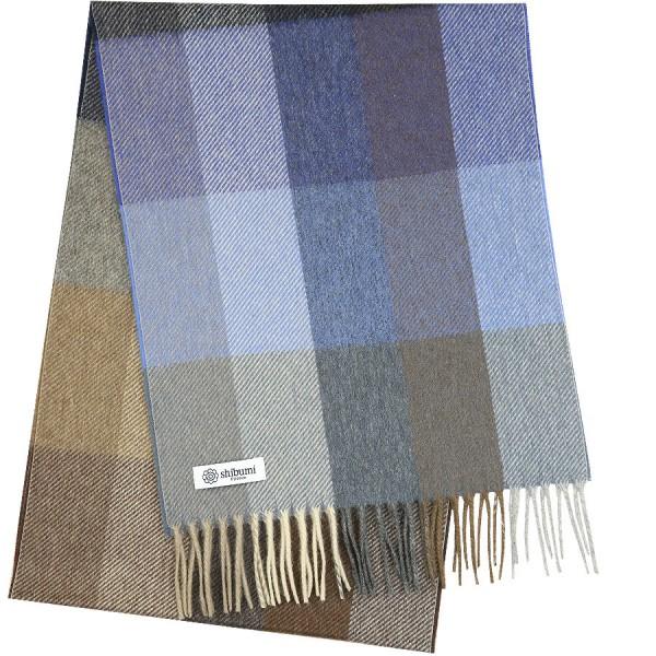 Plaid Cashmere Scarf - Blue / Beige