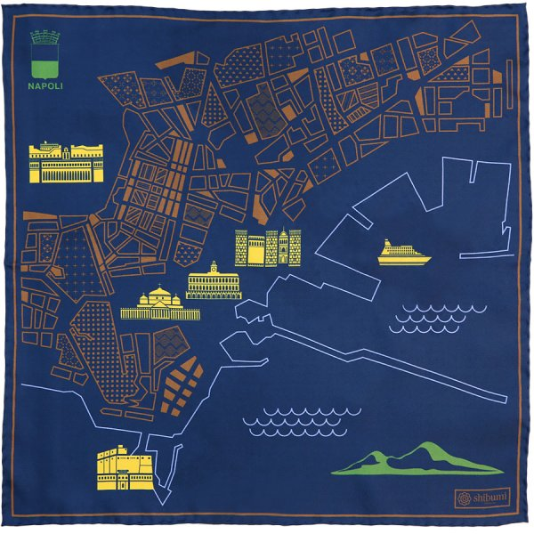 Naples Map Silk Pocket Square - Navy - 40x40cm