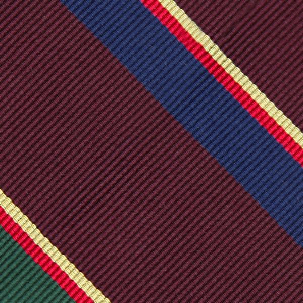 Bespoke Repp Stripe Silk Tie - Burgundy