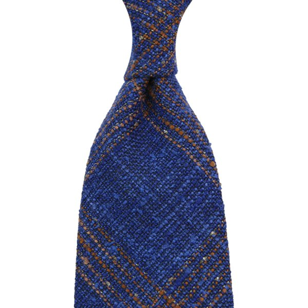 Loro Piana Checked Wool / Silk / Linen - Blue I - Handrolled